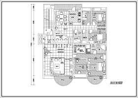 某大户型三室两厅装修设计施工图