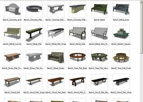 sketchup园林坐凳三维模型——53个