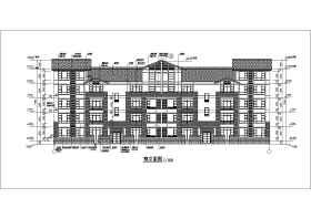 某地獨棟別墅花園洋房多層戶型平面圖立面圖