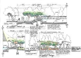 百瑞广场园林景观施工彩平图全套