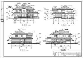 某二层旋转楼梯小别墅建筑设计施工图