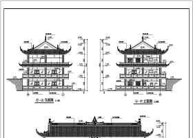 某3层框架仿古接待中心建筑设计方案图