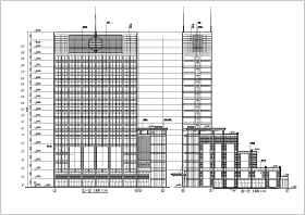 功能复杂的综合商业办公楼施工建筑CAD设计图