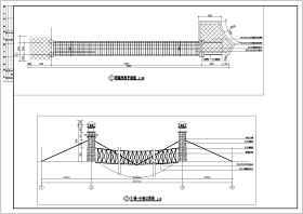 园林景观钢缆拉索吊桥设计施工图纸