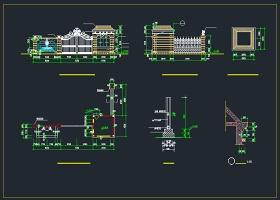 某别墅大门围墙CAD设计施工图纸