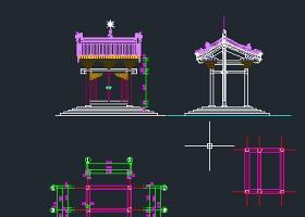 庙门 仿古建筑 木顶子CAD图纸