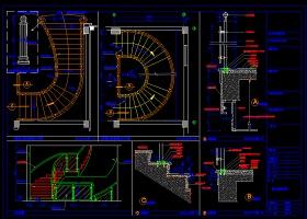 某酒店旋转楼梯装修CAD设计平面图