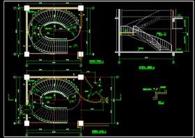 某椭圆旋转楼梯cad设计大样详图