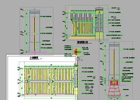 园林景区铁艺大门设计cad施工节点详图大全