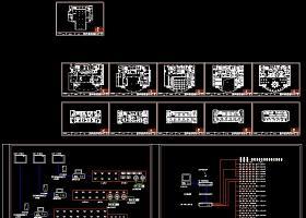 某宾馆监控及广播室电气线路设计cad施工方案图