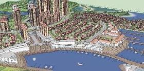 一个滨海小区建筑与景观规划设计SU精品大场景模型