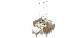 棕白色桌椅子su模型綜合效果圖