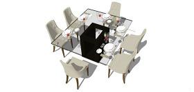 玻璃桌椅su模型效果圖
