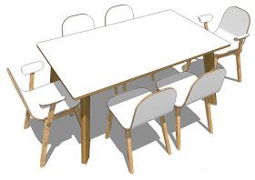白色桌椅綜合模型效果圖