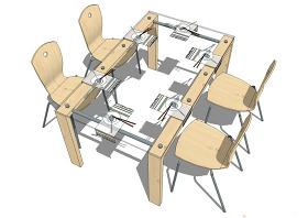 創意桌椅模型效果圖