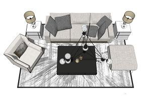 家居客廳su模型綜合效果