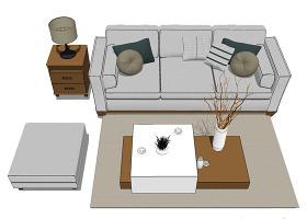 淺色沙發茶幾su模型效果圖