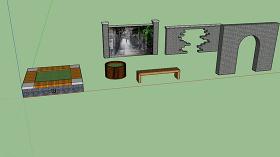 中式景墙树池坐凳SU模型图片