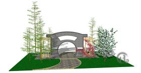 中式景观墙园林效果图skp模型