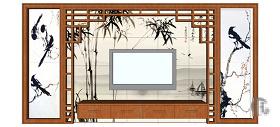 中式水墨画电视背景墙skp模型