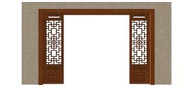 中式屏风风格电视背景墙skp模型