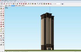 30F高层住宅精细外立面带线脚SU模型