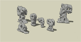 园林装饰石头SU草图大师skp模型