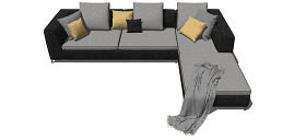 深色沙發客廳su模型果圖