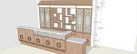 中式餐馆吧台su模型