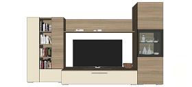 电视背景墙电视柜skp模型
