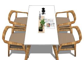 舒适桌椅su模型效果图