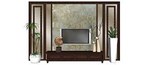 中式电视背景墙SU草图大师skp模型