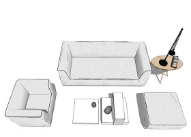 家居客廳su模型綜合效果圖