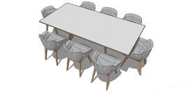 淺色舒適桌子su模型綜合效果圖