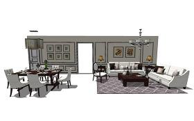 现代客厅餐厅复式su模型综合效果图