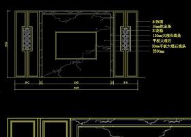 原创中式大理石客厅电视背景墙cad立面-版权可商用
