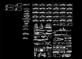 原创各种海陆空交通工具设计图纸cad图块图例