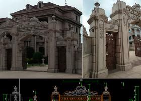 原创欧式围墙石材大门CAD拆料加工图-版权可商用