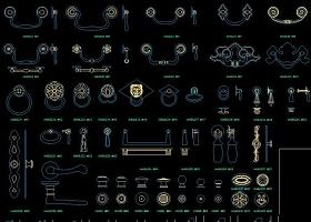 原创CAD五金大全器材滑轮建筑构件门饰螺栓-版权可商用