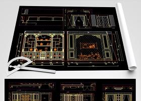 原創豪華中式護墻板背景墻CAD圖庫-版權可商用