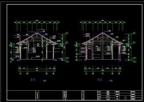 原创木结构仿古建筑书斋建筑施工图cad图纸