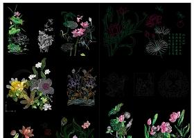 原創超炫荷花植物花藝花朵CAD圖庫-版權可商用