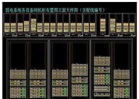原创弱电系统各设备间机柜布置图立面大样图(含配线编号)-版权可商用