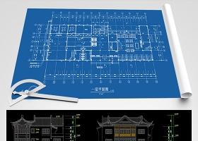 原创三层仿古会所酒店建筑CAD图纸-版权可商用