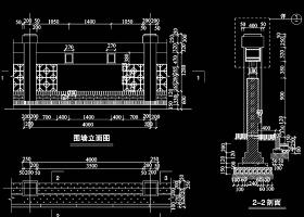 原创CAD围墙建筑结构图-版权可商用