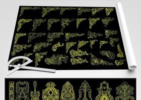 原创精品欧式雕花角花金色系欧式花边花纹CAD图库-版权可商用