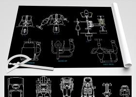 原創健身器材CAD圖紙跑步機器材健身房圖庫-版權可商用