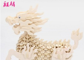原创激光切割工艺品CAD图纸3D拼装图麒麟-版权可商用