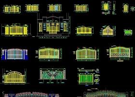 CAD铁艺大门节点详图大样中式铁艺门图库