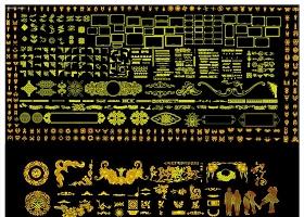 金色系欧式花边花纹CAD图库